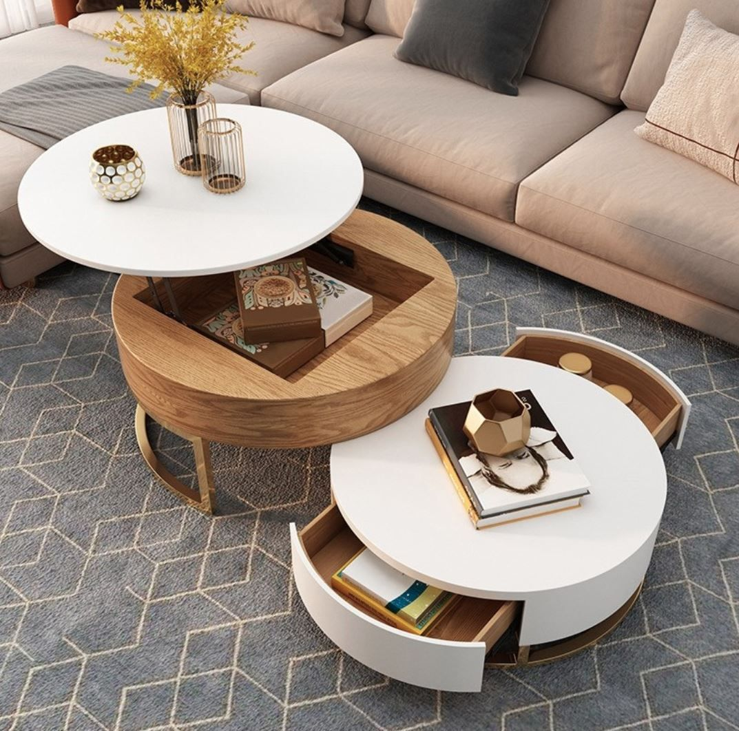 Modern Round Coffee Table With Storage Lift Top Wood Coffee Table With Rotatable Drawers In White Natural White Black Marble White In 2021 Round Coffee Table Modern Coffee Table Wood Round Coffee Table [ 1062 x 1073 Pixel ]