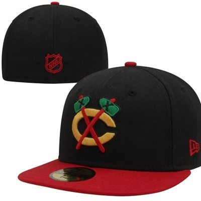 fd85133a07b A Hawks hat with a large tomahawk sleeve patch - Chicago Blackhawks 2-Tone  59FIFTY