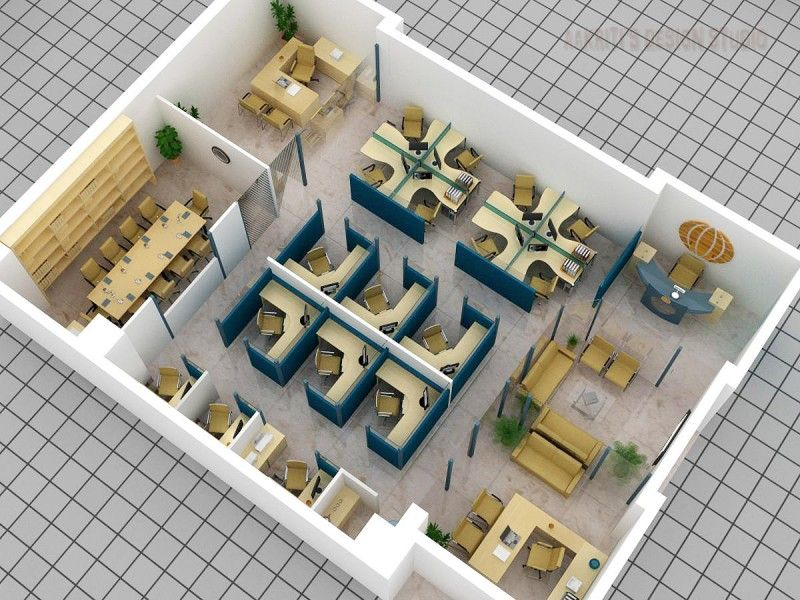 Beautiful 3D Office Layout Plan With Cubicle, Meeting Room, Reception And Lobby