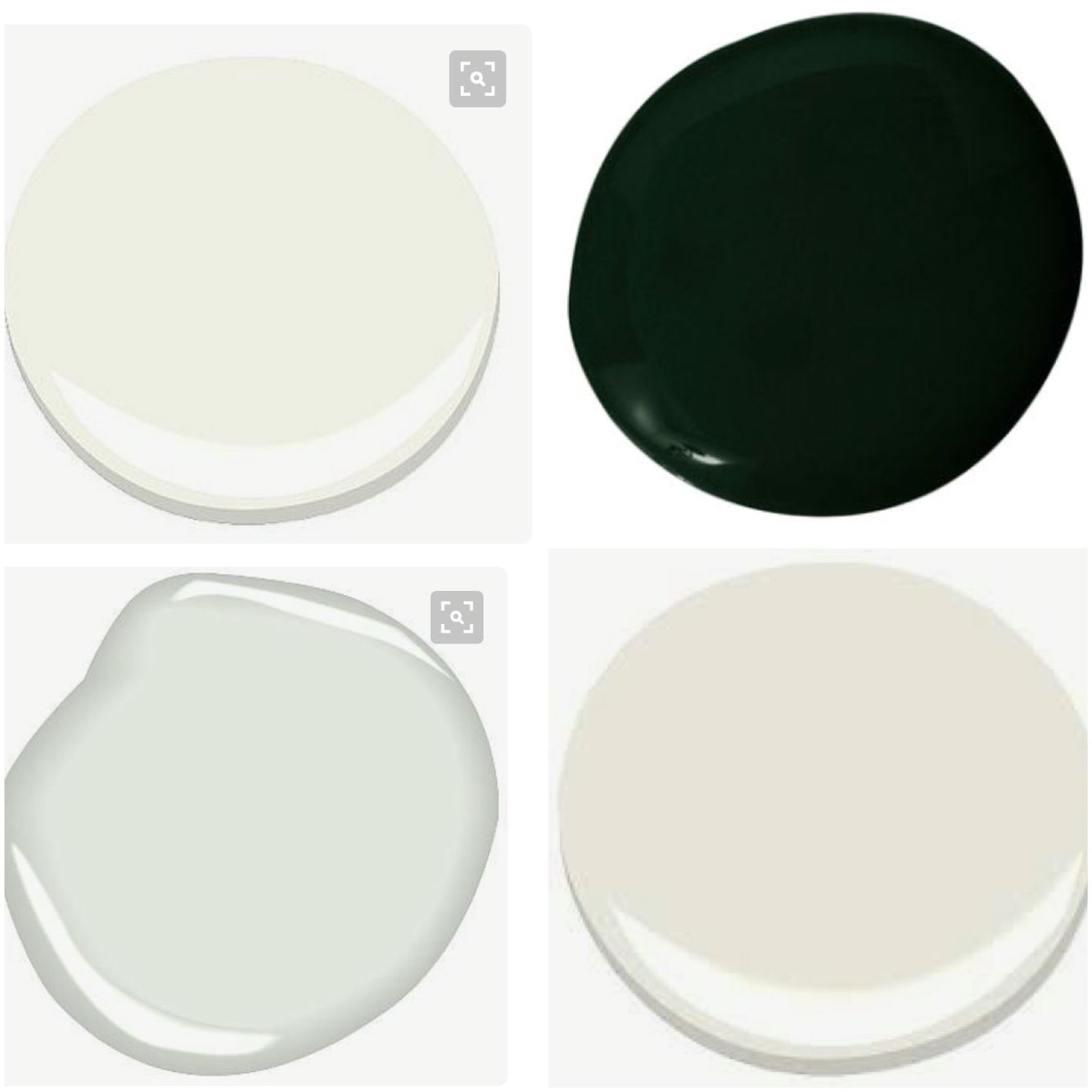 Simply white, Black Forest green, brilliant white and Swiss coffee