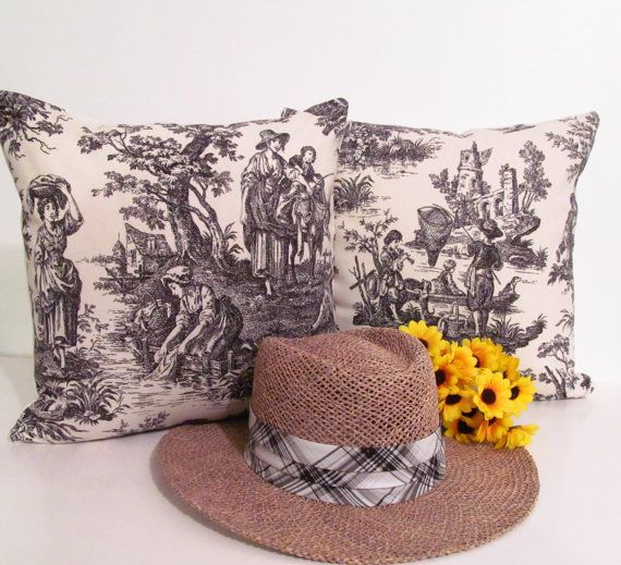 French Country Style BLACK TOILE Decorative by supplierofdreams