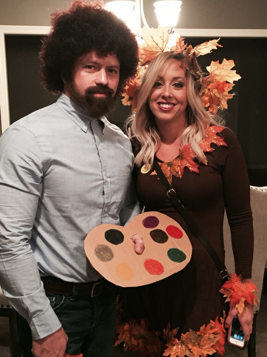 "Halloween Couple Costume Bob Ross & ""happy Little Tree"