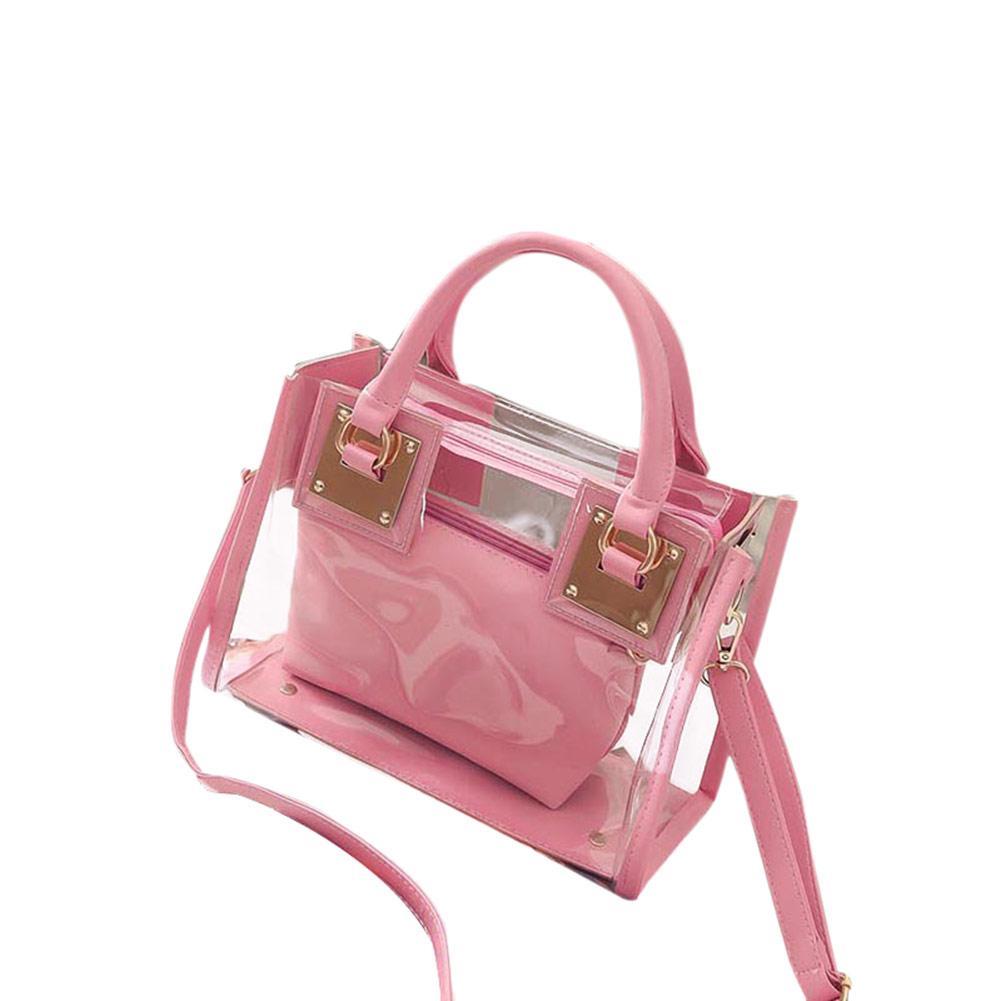 f7d5069ca2 2pcs 2017 New Fashion Women Clear Transparent Shoulder Bag Jelly Candy  Summer Beach Handbag Woman Messenger