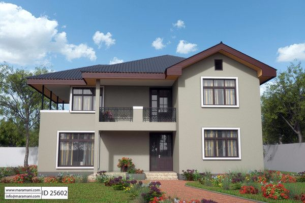 A compact 5 bedroom house plan with open kitchen and for Self contained house plans