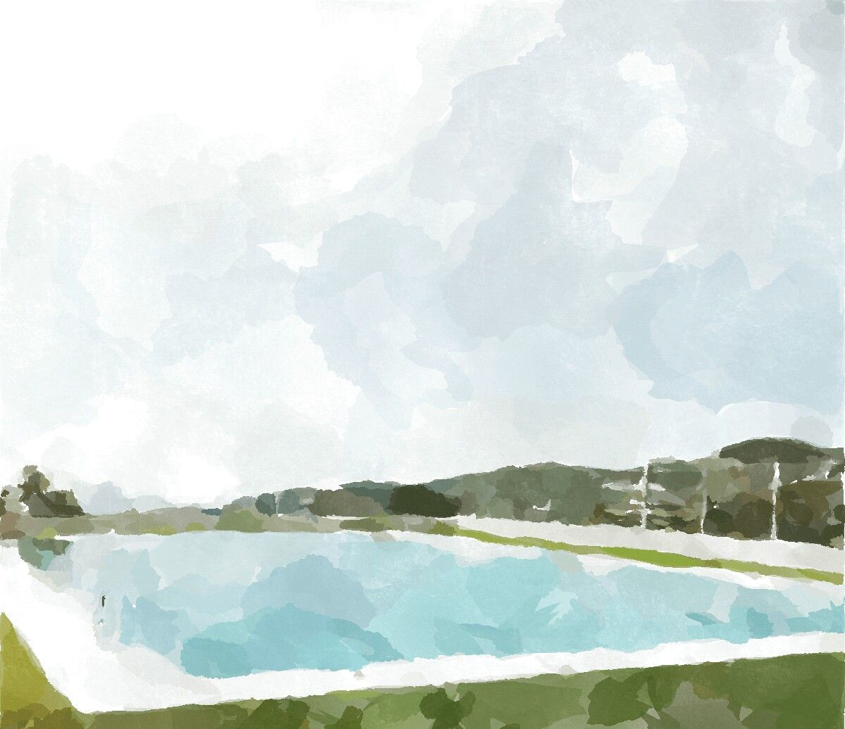 Copyright Free Watercolor Art Sky And Pool With Water