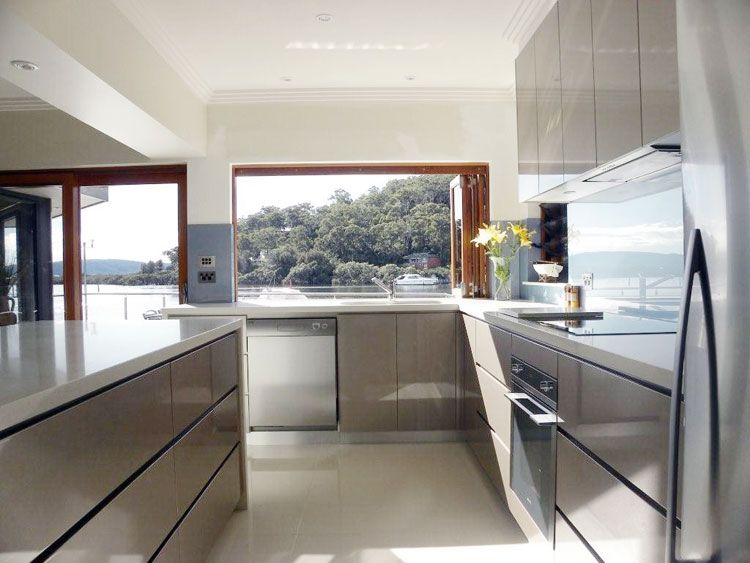 Light Grey Walls Ad Floor White Cupboards Kitchen Colours