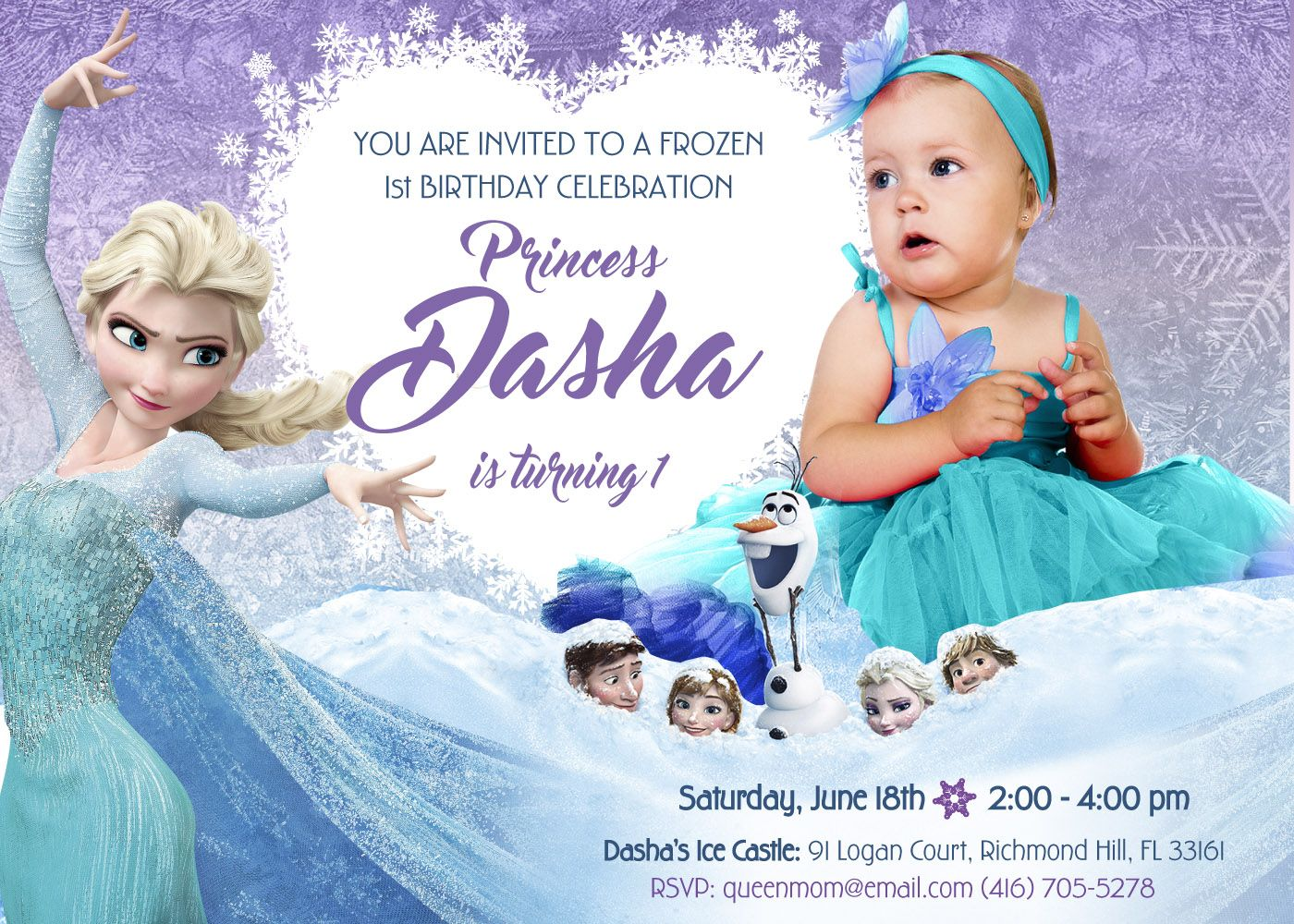 Frozen 1st Invitation Frozen 1st Birthday Invitation In 2020