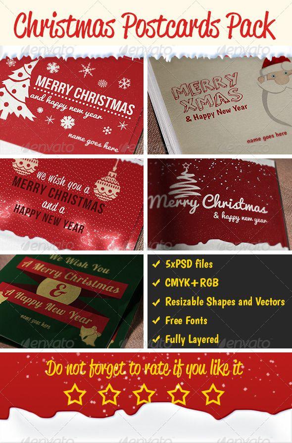 3 Christmas Long Shadow Postcards #GraphicRiver Include: - 4