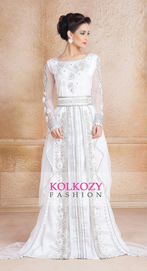 f10428d2285 White Color Designer Moroccan Kaftan Dress - Handmade Arabic Long Sleeve  Wedding Caftan