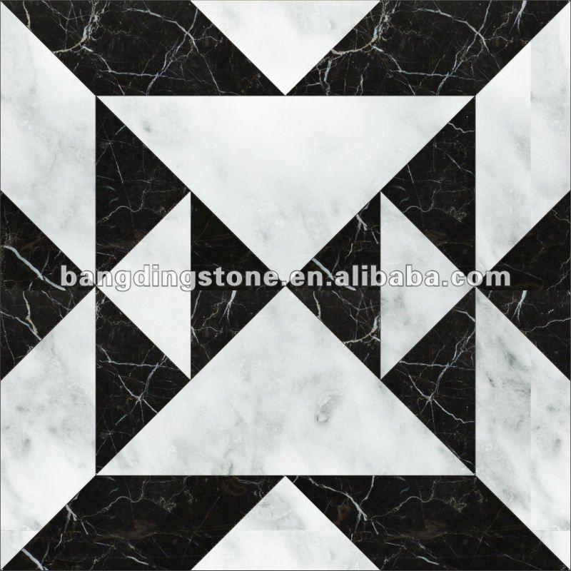 Black And White Marble Mosaic Floor Tile Black White