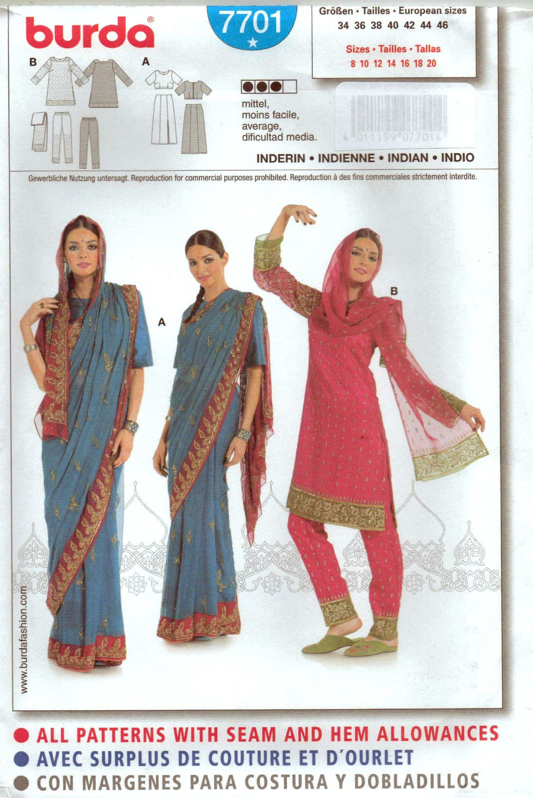 From Uk Sewing Pattern Fancy Dress Asian Indian Sari Costume 8 20