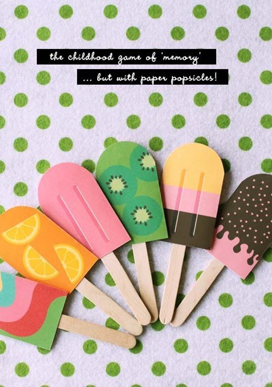 Free Printable Paper Popsicle Memory Game Craft Stick Crafts Crafts For Kids Popsicle Party