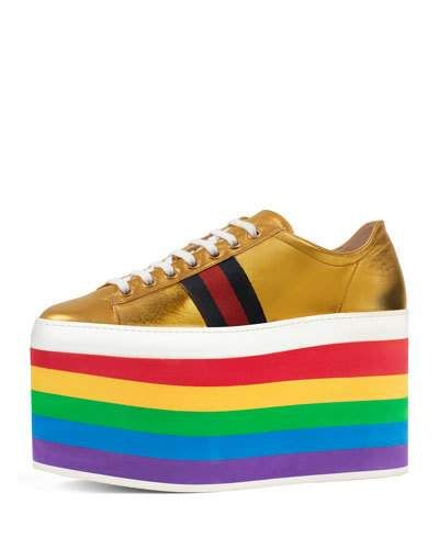34a2984a7 S0TGA Gucci Peggy Leather Platform Sneaker, Rainbow/Gold | shoes ...