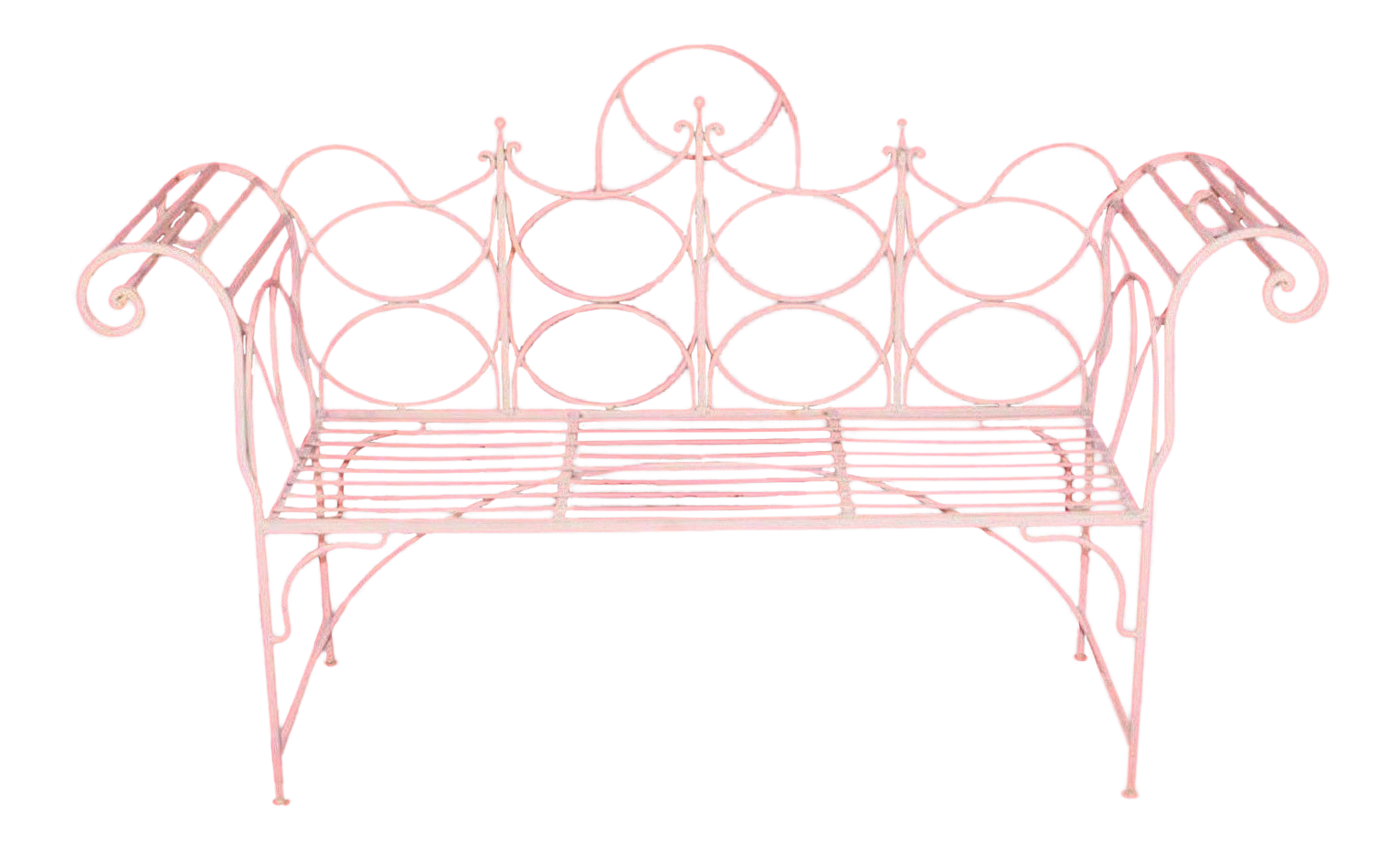 Vintage Wrought Iron Gothic Priory Style Garden Bench Scroll Sofa White Sunroom Outdoor Living Design Garden Storage Bench Garden Bench