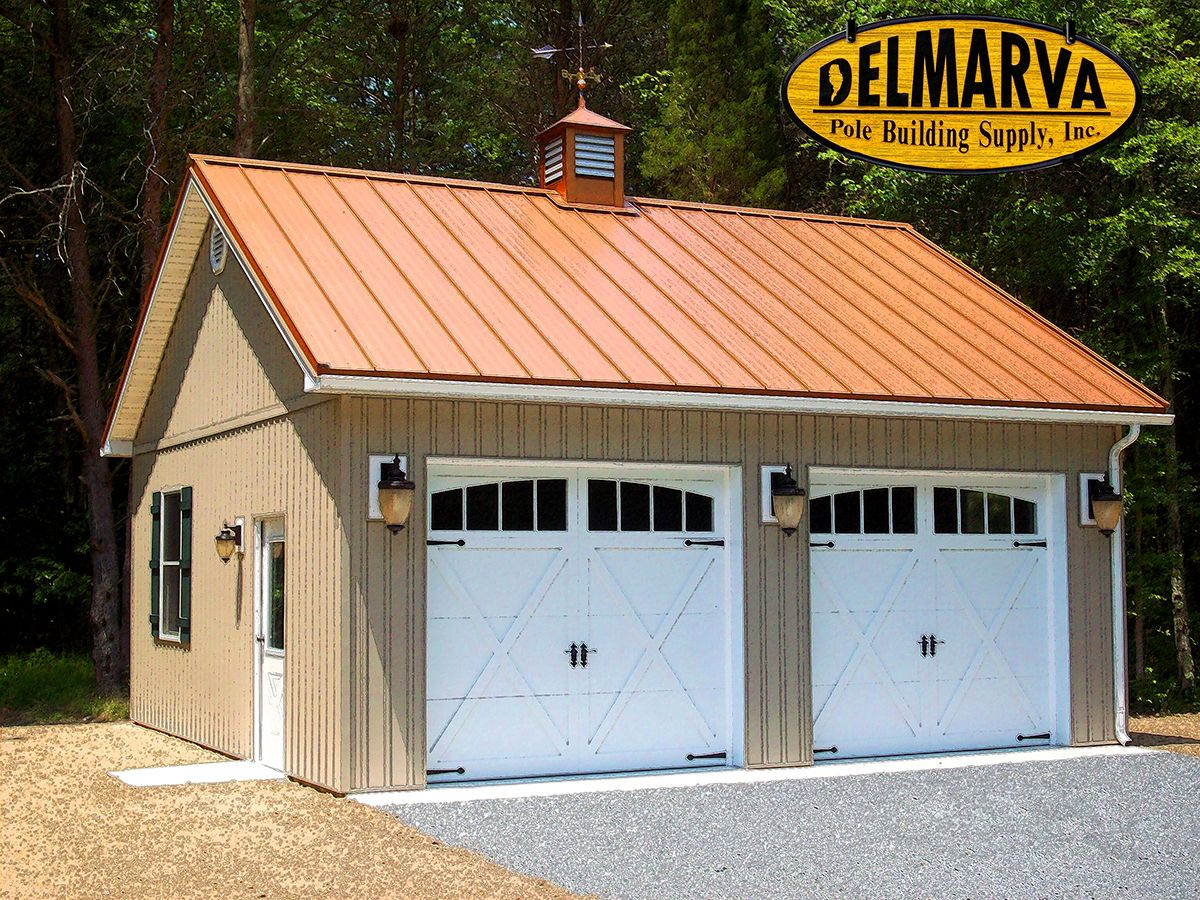 2 car garage pole building residential pole buildings for Metal barn images