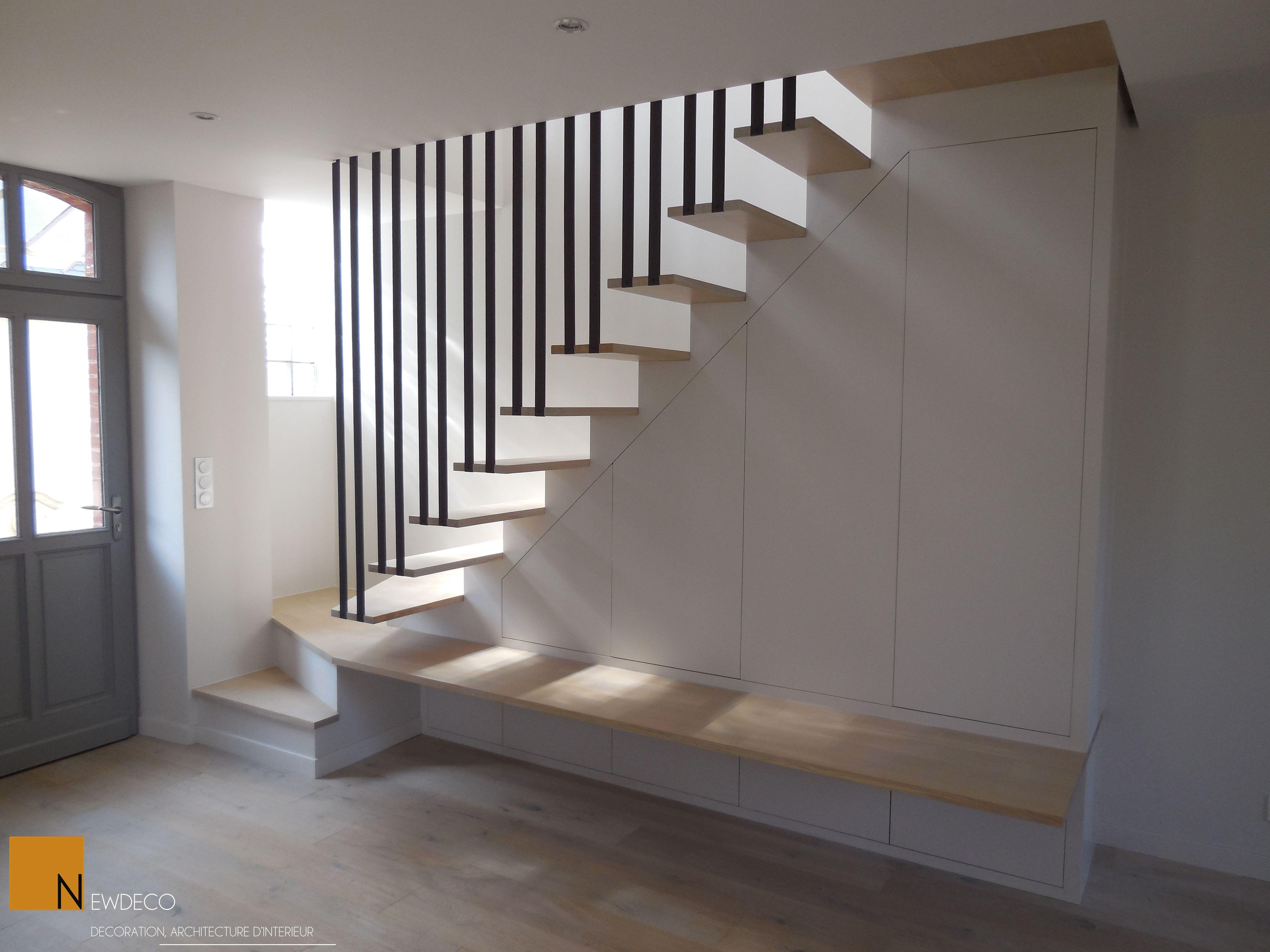 escalier sur mesure / escalier contemporain / garde corps / placard sur mesure | Escalier ouvert ...