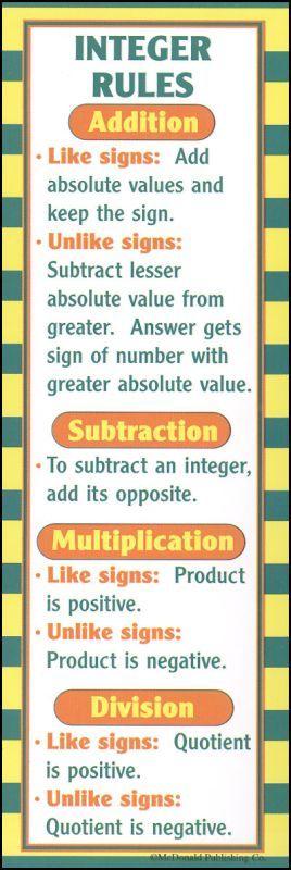 fast algebra techniques algebra student learning and math pre algebra bookmark because teaching integers is like my worst nightmare