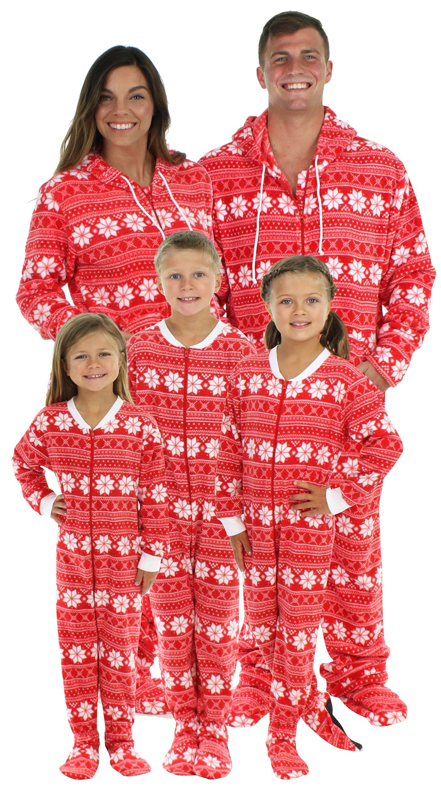 SleepytimePjs Family Matching Red Snowflake Onesie PJs Footed Pajamas  Women s Red Snowflake – (STM17-2010-W-MED) 6026321ac