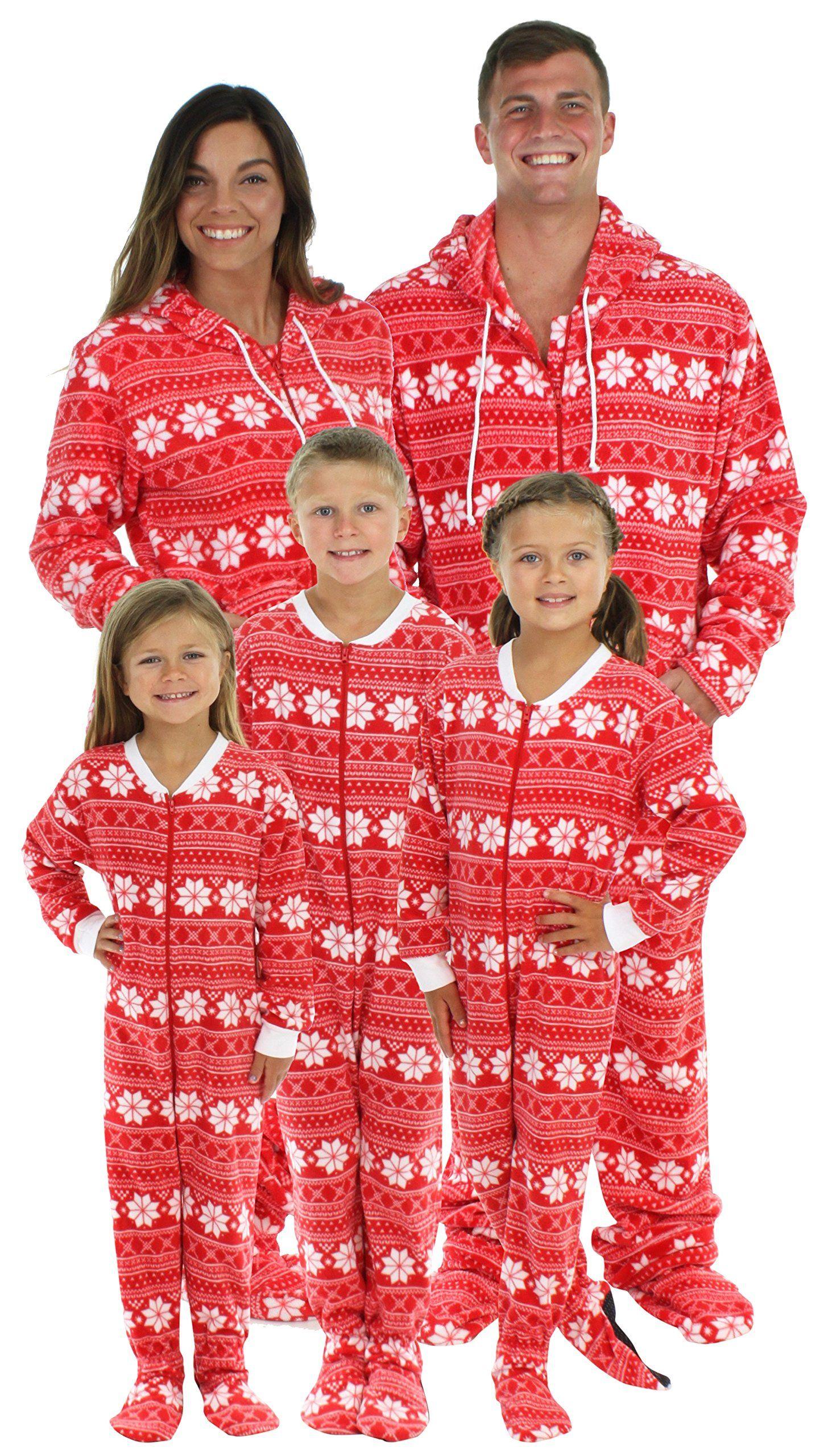 SleepytimePjs Family Matching Red Snowflake Onesie PJs
