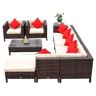Outsunny 9pc Outdoor Rattan Sofa Sectional Patio Furniture Set