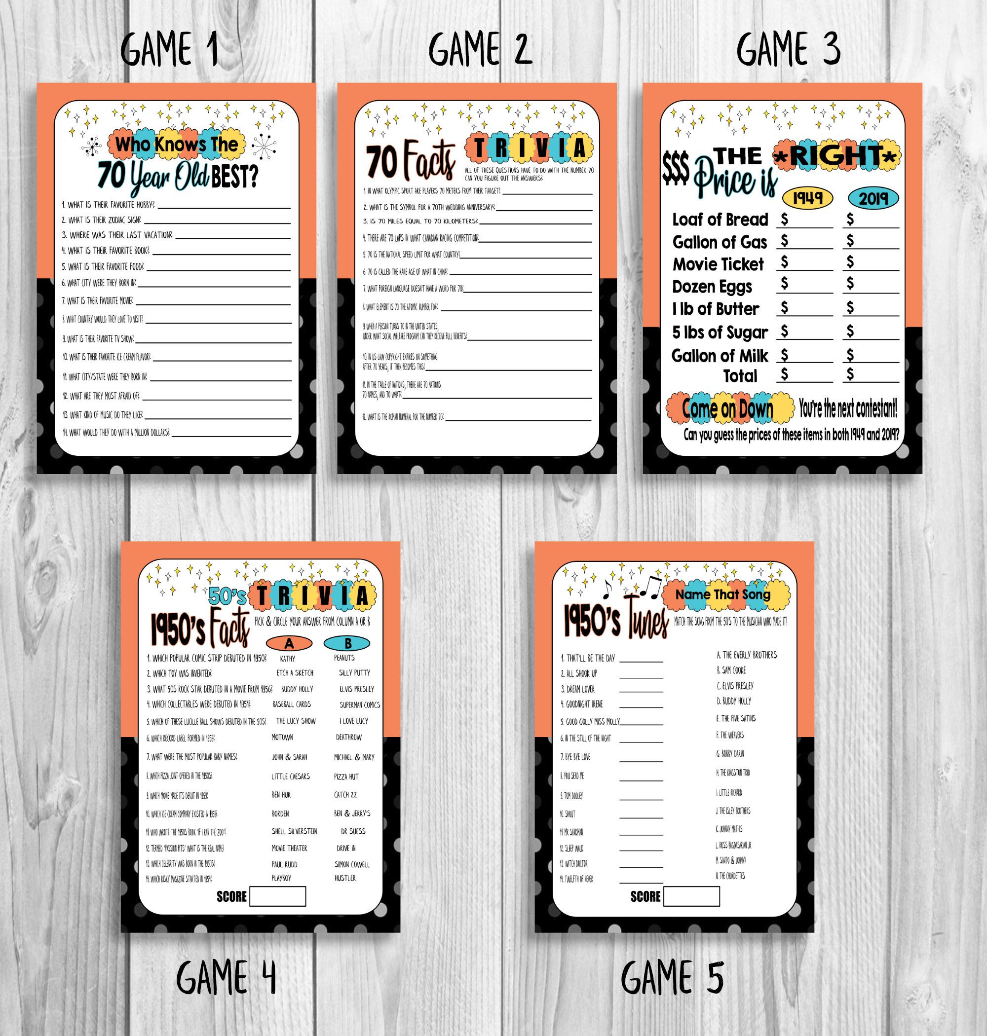70th Birthday Party Games, How Well Do You Know The 70