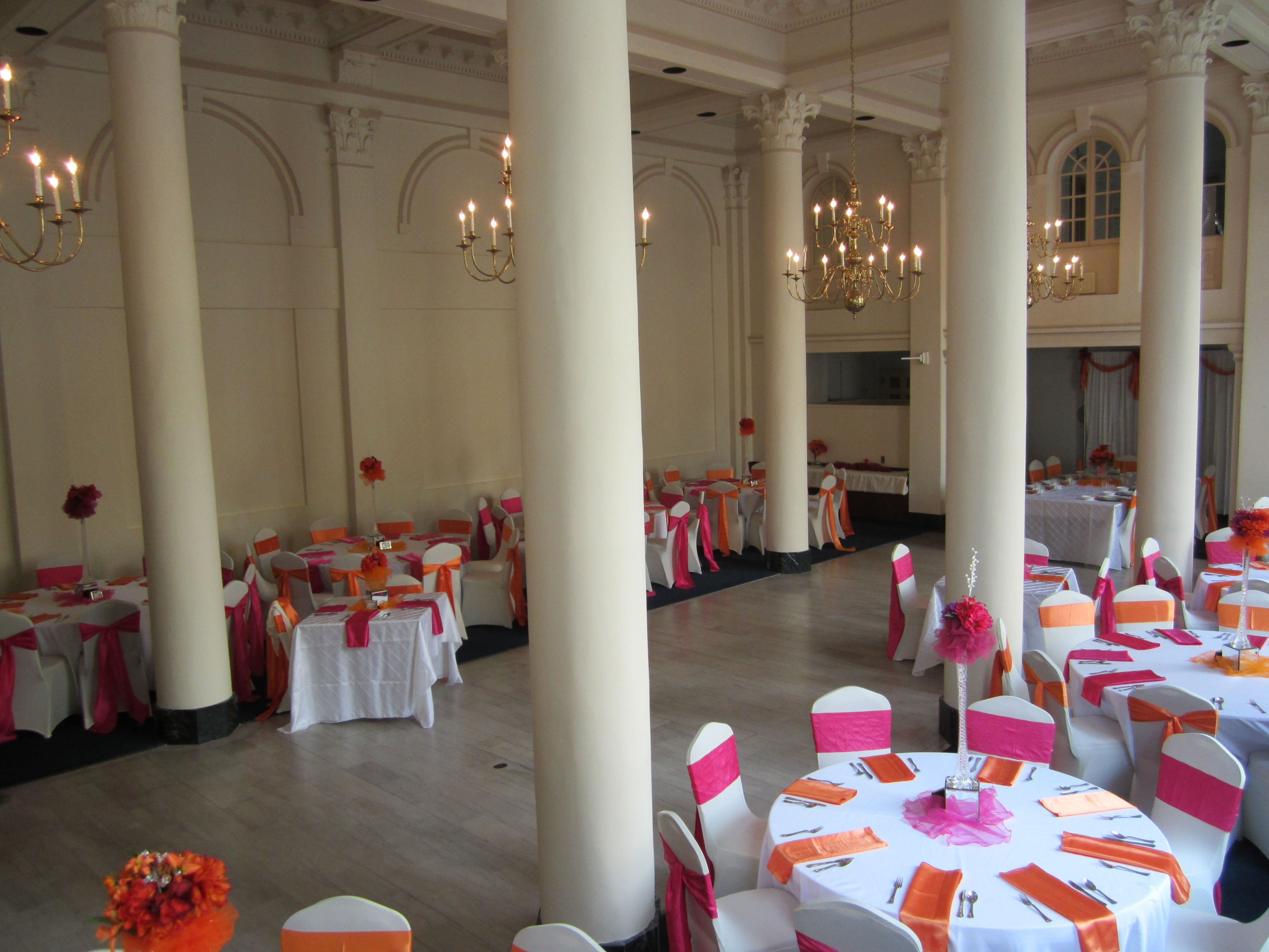 Wedding decorations for hall  Holland wedding reception in the Ballroom Decorations in orange and