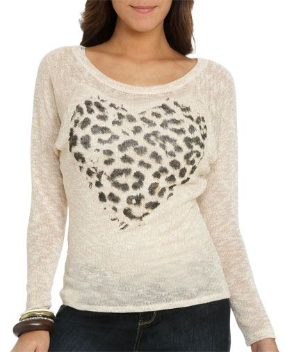 Cheetah Foil Heart Sweater from WetSeal.com