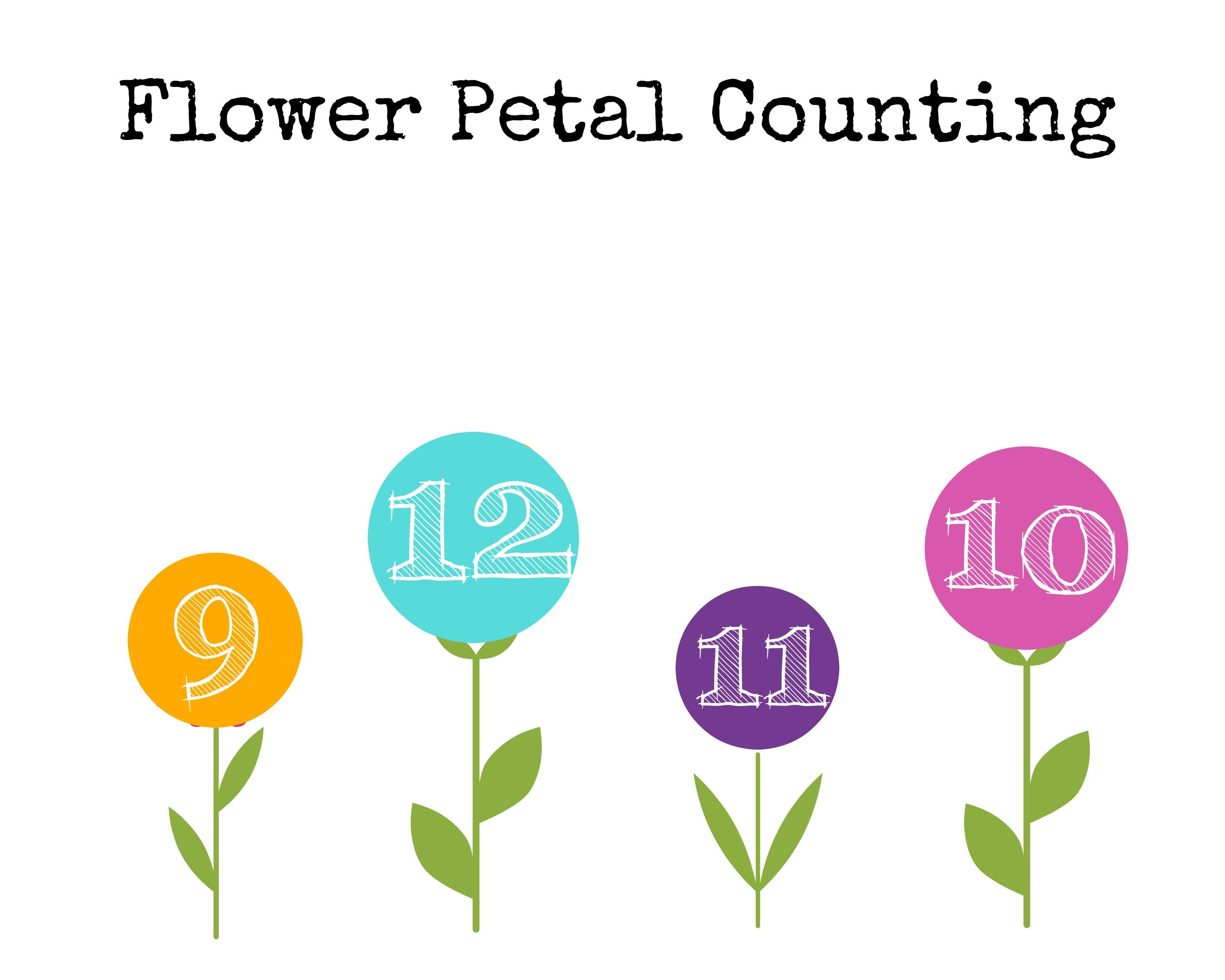 Plant Theme Preschool Math Flower Petal Counting Free