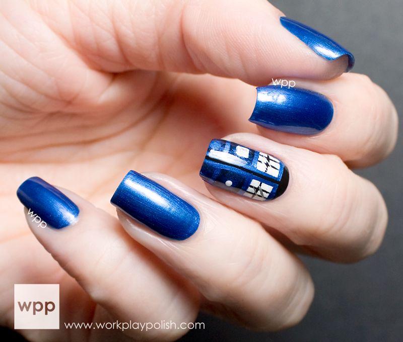 Dr who tardis nail art makeup and nails pinterest tardis dr who tardis nail art prinsesfo Choice Image