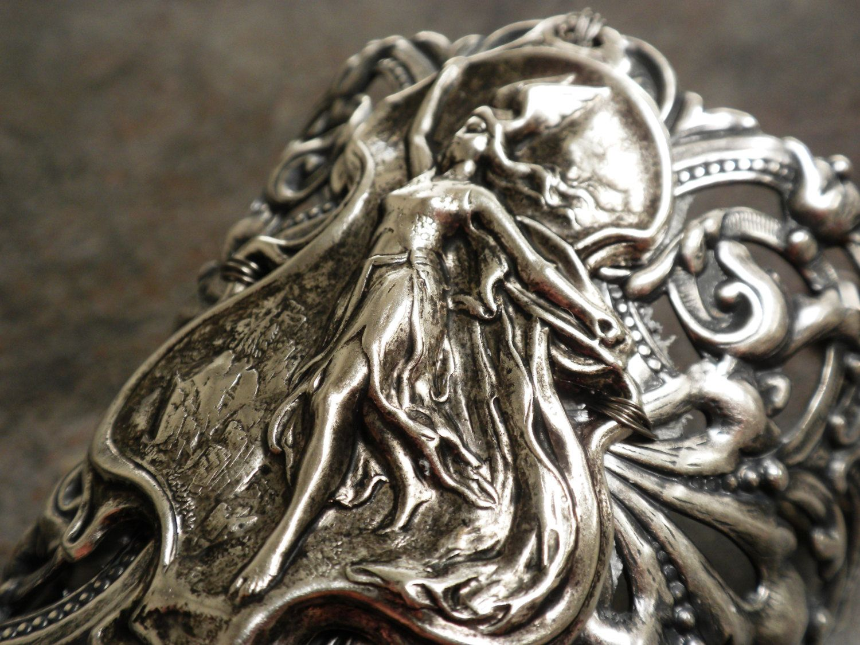 Viking Jewelry Valkyrie Norse Goddess Wide Silver Cuff