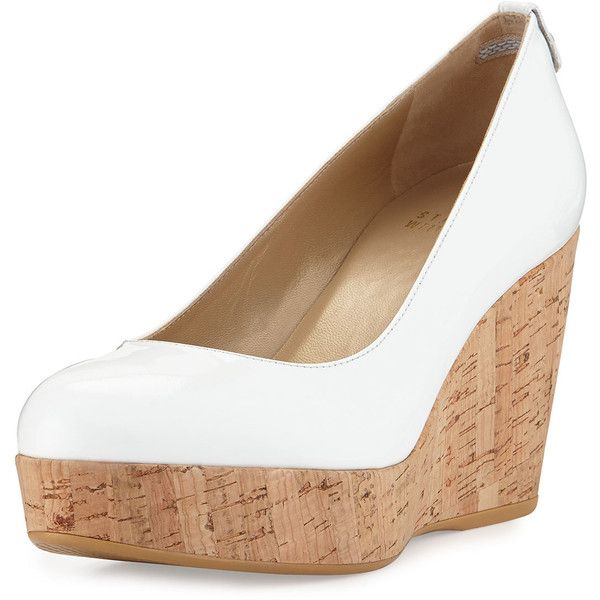 Stuart Weitzman Logoyork Patent Wedge Pump ($298) ❤ liked on Polyvore featuring shoes, pumps, white, white patent leather pumps, white flat shoes, wedge pumps, patent leather flats and white platform shoes
