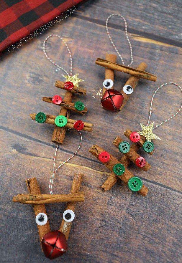 Zimtstange Rentier Baumschmuck Selbstgemachter Weihnachtsschmuck Weihnachtsbaumornamente Urlaub Handwerk