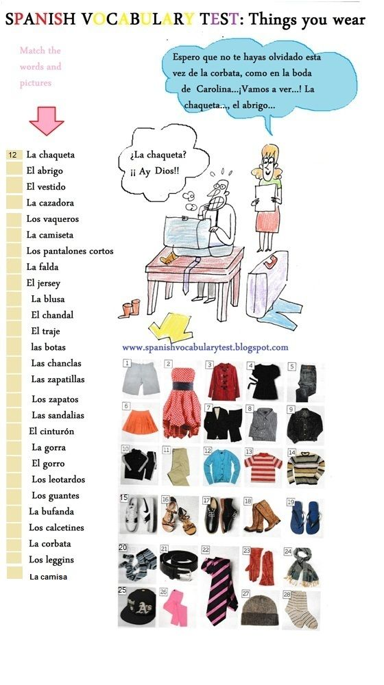Pin by Toni Schneller on Ropa | Spanish worksheets, Spanish ...