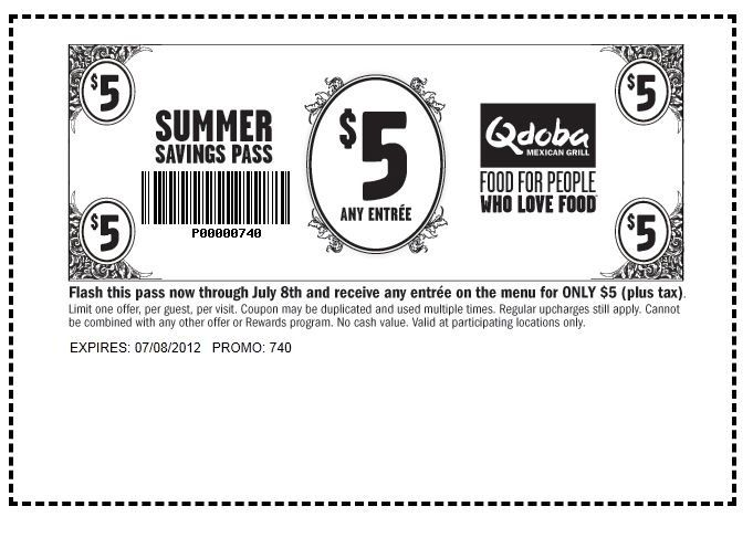 graphic regarding Qdoba Printable Coupons titled Qdoba $5 Entree - Rejoice Summertime with cost savings for the duration of July