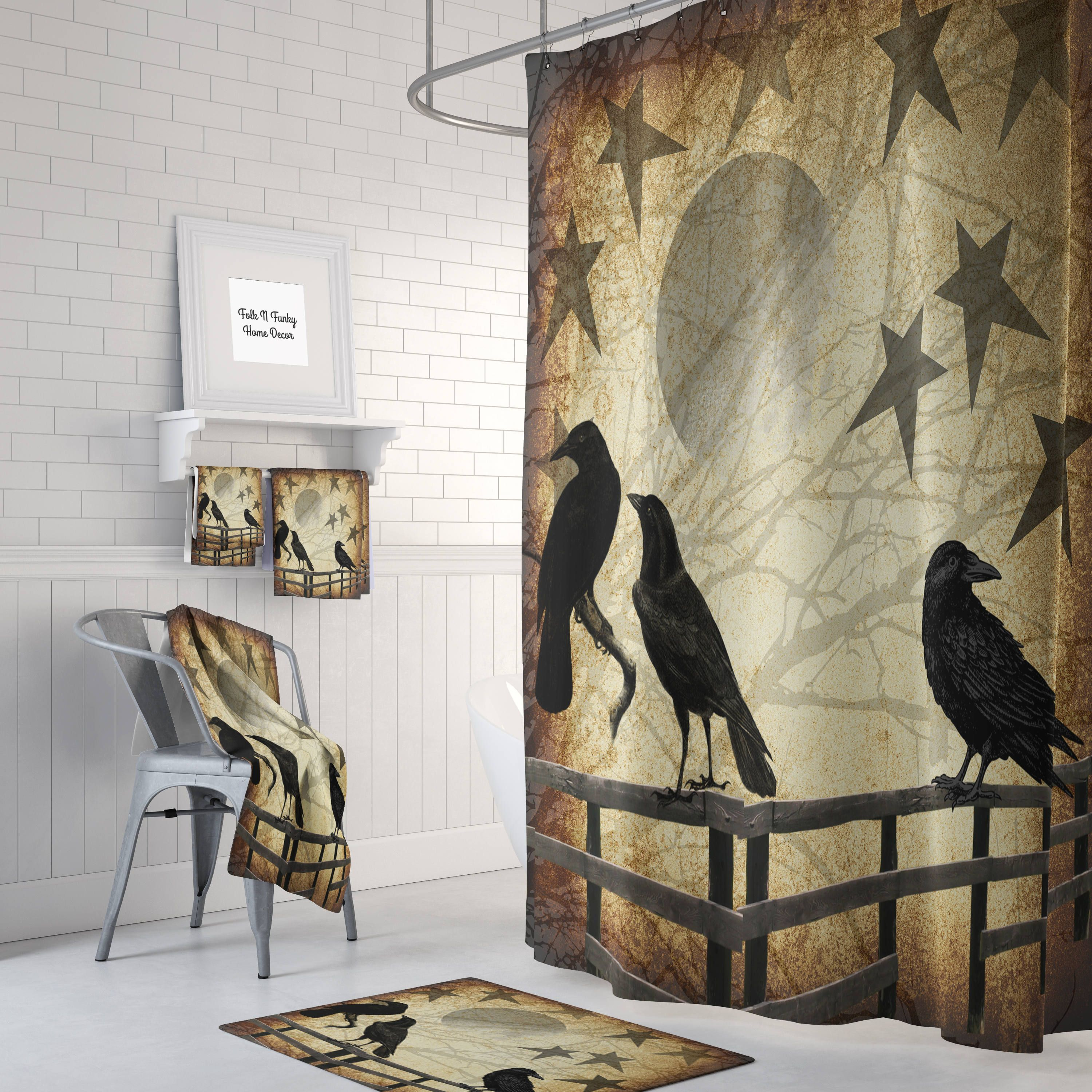 Primitive Grunge Shower Curtain Rustic Crows And Stars Country