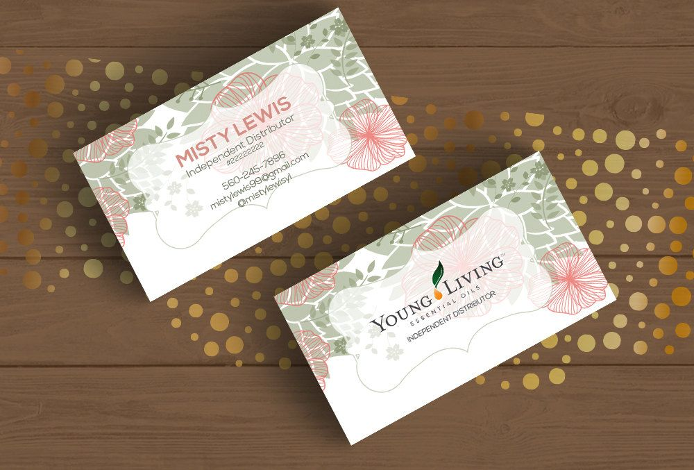 Young living business card template layered psd no3 handrawn pink young living business card template layered psd no3 handrawn pink and green floral colourmoves