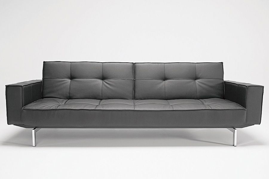 Oz Deluxe Sofa Black Leather Textile | Modern Digs Furniture ...