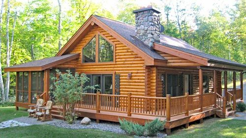 Perfect if only it was half stone 1 wrap around porch 2 for Stone and log home designs