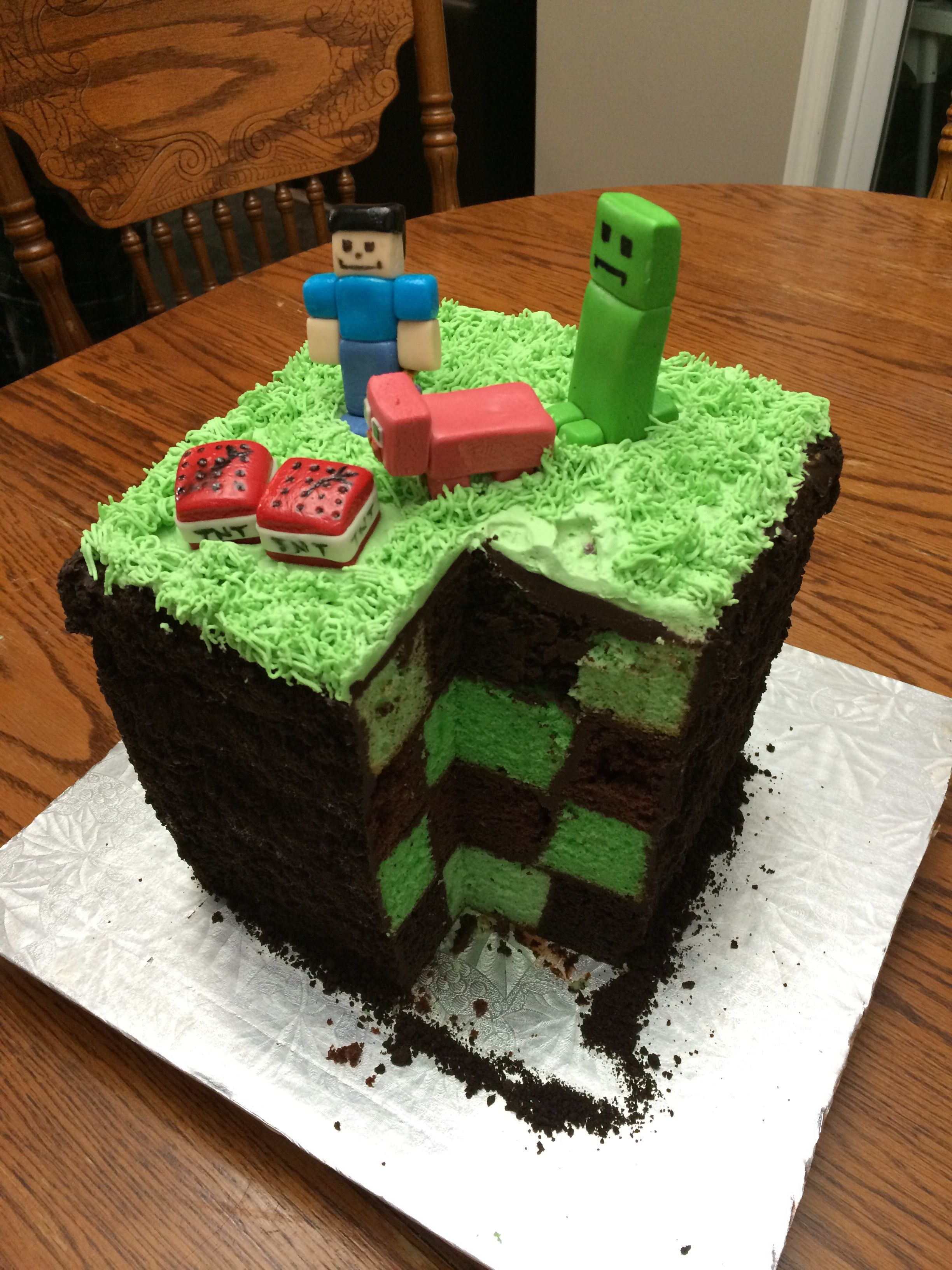 My Mom Made A Pretty Cool Minecraft Cake For My Brothers Birthday
