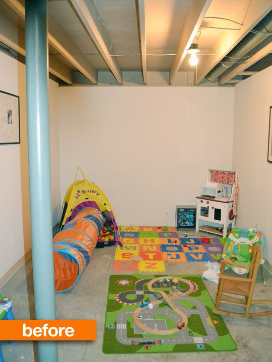 Before After Unfinished Basement Into Organized Chaos Play Space Unfinished Basement Playroom Unfinished Basement Basement Ceiling Ideas Cheap