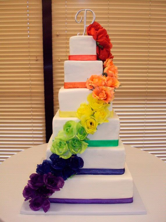 I Think A Rainbow Wedding Would Be Cool Bride In White Groom In Black Bridesmaids In Bright Colored Dre Rainbow Wedding Cake Colorful Cakes Rainbow Wedding