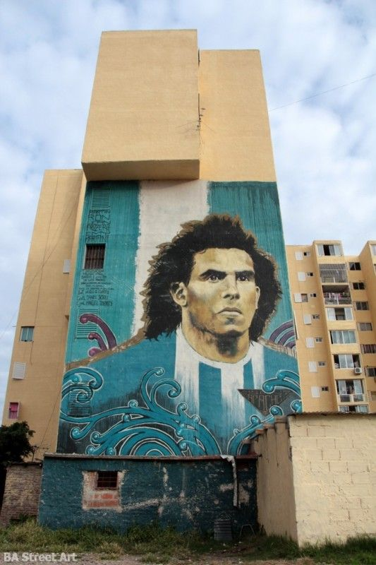 Mural Of Carloz Tevez By Martin Ron Lean Frizzera And Emy Mariani Buenos In Fuerte Apache Buenos Aires Province Argentina