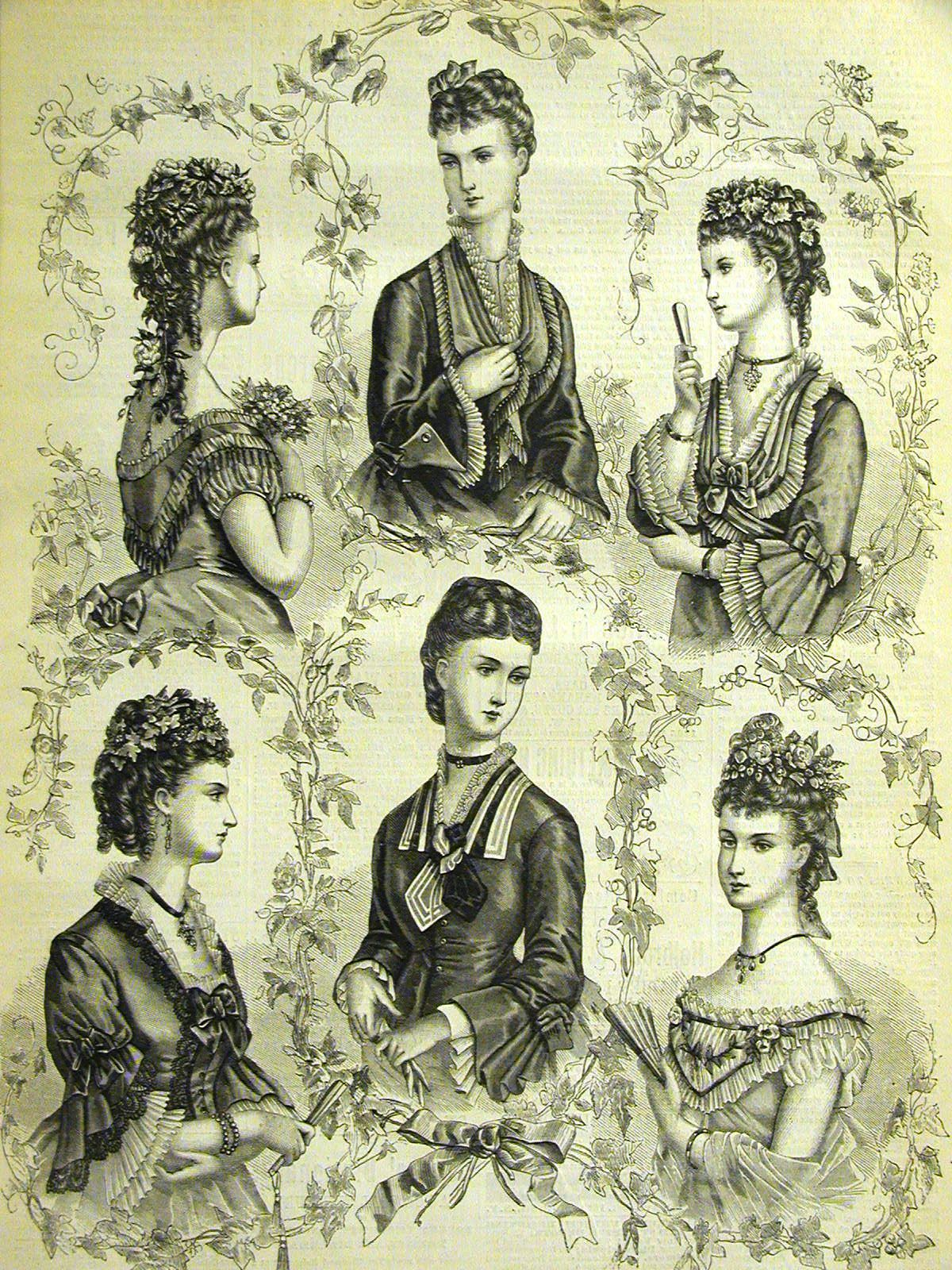 Fashion plate showing Victorian modes and hair styles of the s