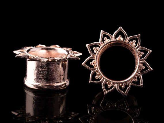 Lotus Flower Tunnels Rose Gold Plated Plugs Tribal Mandala Ear Tunnel Ear Gauges Brass 8g 6g 4g 2g 0g 00g 1 2 9 16 5 Gold Gauges Rose Gold Plates Jewelry
