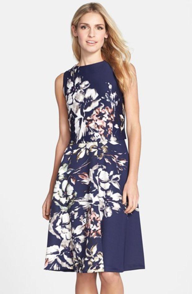 Women's Taylor Dresses Print Scuba Midi Dress,