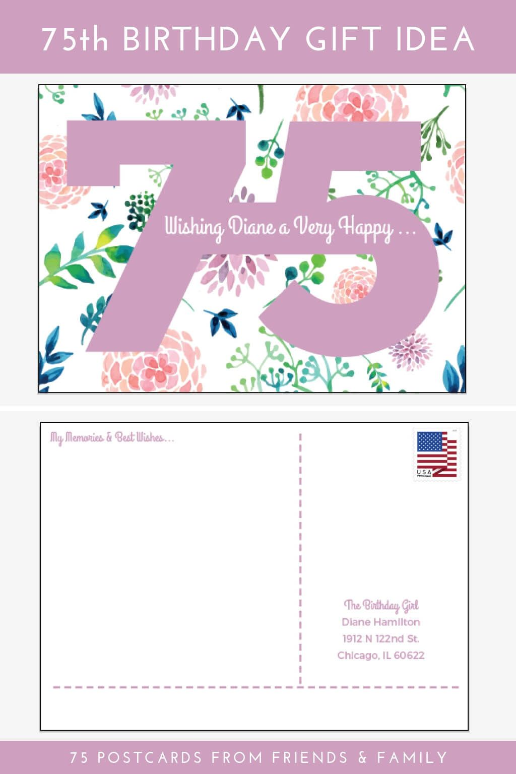 75th Birthday Gift Idea 75 Postcards From Friends And Family Order These Personalized