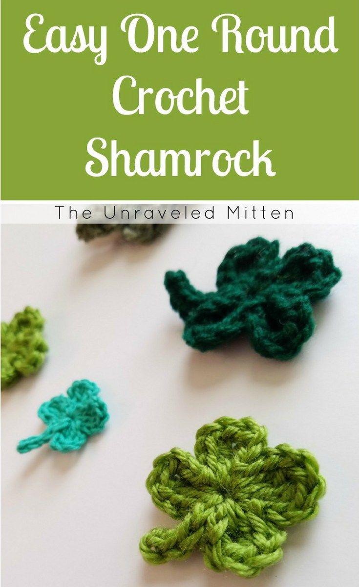 Easy One Round Crochet Shamrock | Easy crochet, Leaf clover and Free ...