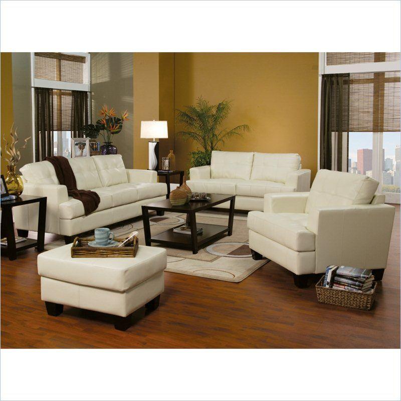 Coaster Samuel 3 Piece Leather Sofa Set In Cream