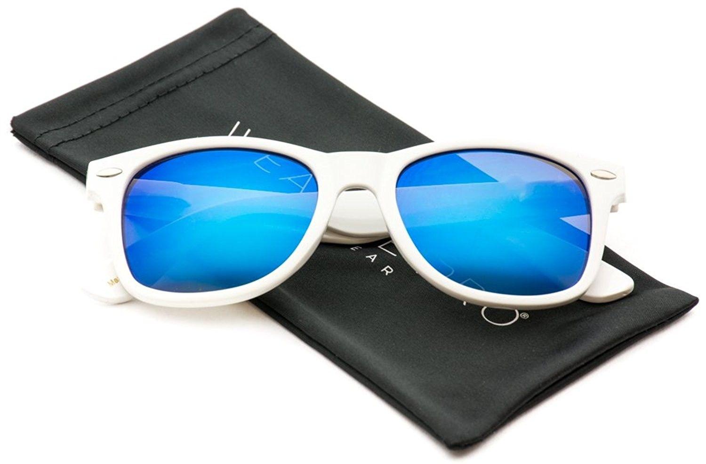 99d0942e6f Mirror Lens Horn Rimmed Style Retro Sunglasses - Glossy White Frame  Mirror  Blue Lens - C51885AZ600 - Women s Sunglasses