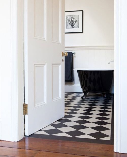 Superbe 25 Black And White Victorian Bathroom Tiles Ideas And Pictures Bathroom  With Wood Floor, Kitchen